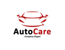 Automotive car logo design with abstract sports vehicle silhouette. Automotive car care logo design with abstract black and red sports vehicle silhouette icon Royalty Free Stock Photography