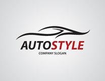 Automotive car logo design with abstract sports vehicle silhouette. Icon isolated on light grey background. Vector illustration Stock Image