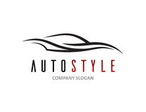Automotive car logo design with abstract sports vehicle silhouette. Automotive car logo design with abstract sports vehicle icon silhouette isolated on white Royalty Free Stock Images