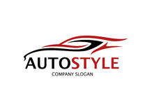 Automotive car logo design with abstract sports vehicle silhouette Stock Photo