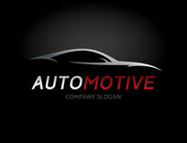 Automotive car logo design with concept sports vehicle silhouette. Automotive car logo design with concept sports vehicle icon silhouette on black background Stock Image