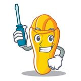 Automotive cashew mascot cartoon style. Vector illustration Stock Image