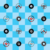 Automotive childish wallpaper with steering wheels Stock Photo