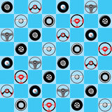 Automotive childish wallpaper with steering wheels Royalty Free Stock Photo