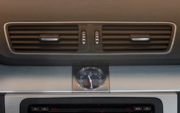 Automotive Clock And Ventilation Holes Stock Image