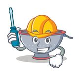 Automotive colander utensil character cartoon Royalty Free Stock Images