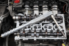 Automotive, cylinder head servicing Stock Image