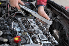 Automotive, cylinder head servicing royalty free stock photo