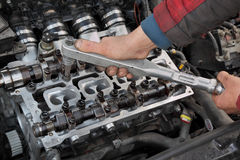 Automotive, cylinder head servicing Stock Images