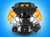 Automotive engine on blue gradient background 3D illustration royalty free illustration