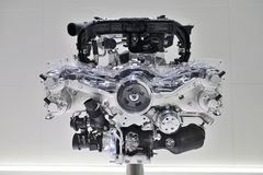 Automotive Engine. On display, showing various parts of the engine Stock Image