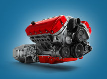 Automotive engine gearbox assembly is isolated  Stock Photos
