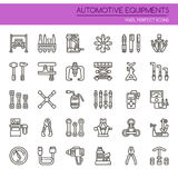 Automotive Equipments. Thin Line and Pixel Perfect Icons Royalty Free Stock Images