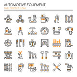 Automotive Equipments. Thin Line and Pixel Perfect Icons Stock Images