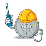 Automotive Ethereum coin character cartoon. Vector illustration Stock Photography