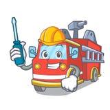 Automotive fire truck mascot cartoon. Vector illustration Stock Photo