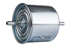 Automotive fuel filter side view Stock Photos