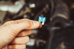 Automotive fuse in hand Stock Images