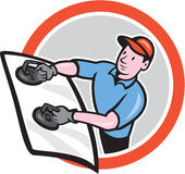 Automotive Glass Installer Front Circle Cartoon Royalty Free Stock Photography