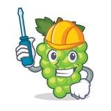 Automotive green grapes mascot cartoon. Vector illustration Stock Photos