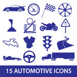 Automotive icon collection eps10. Blue automotive icon collection eps10 Stock Images