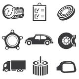 Automotive icons. Car parts and garage icons Stock Photo