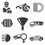 Automotive icons. Car parts and garage icons Stock Images