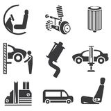 Automotive icons. Car parts and garage icons royalty free illustration