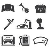 Automotive icons. Car parts and garage icons stock illustration