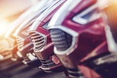 Automotive Industry Car Dealer. Stock Closeup Photo. Modern Brand New Vehicles For Sale stock photos