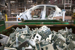 Automotive industry manufacture. Line with different metal parts Stock Image