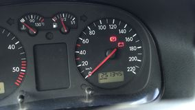 Automotive instrument panel on a diesel car on which the glow plug lights up and the service interval, close-up. Motor stock video footage