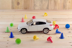 Automotive insurance business concept with toy car Royalty Free Stock Photos