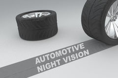 Automotive night vision safety concept. Ual image of 3D rendered wheels with tyres and sign over dark trace showing braking distances over grey background Stock Image