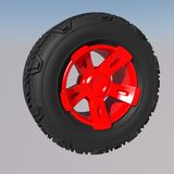 Automotive off road wheel. 3D render Royalty Free Stock Image