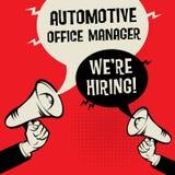 Automotive Office Manager - Were Hiring. Megaphone Hands business concept with text Automotive Office Manager - Were Hiring, vector illustration Stock Image