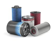 Automotive oil filters. Different types of automotive oil filters Royalty Free Stock Images