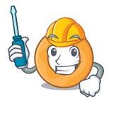 Automotive onion ring mascot cartoon. Vector illustration Stock Photography