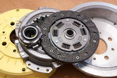 Automotive parts. Brake wheel and automobile clutch royalty free stock photos