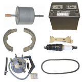 Automotive parts. Various auto parts on white background Stock Photography