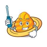 Automotive planet saturnus mascot cartoon. Vector illustration Stock Photos