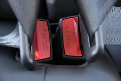 Automotive rear seat belt. Background of close-up of the rear seatbelts of a car Royalty Free Stock Photo