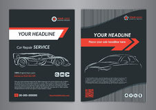 Automotive repair business layout templates, automobile magazine cover, auto repair shop brochure, mockup flyer. Royalty Free Stock Photography