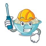 Automotive rice bowl mascot cartoon. Vector illustration Stock Images