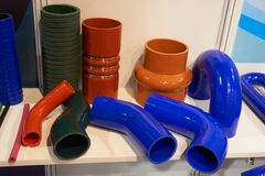 Automotive rubber pipes. Automotive rubber high temperature and pressure pipes Royalty Free Stock Photos