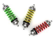 Automotive shock absorber with colour springs Stock Image