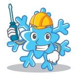 Automotive snowflake character cartoon style Stock Image