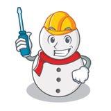 Automotive snowman character cartoon style Royalty Free Stock Image