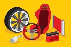 Automotive spare parts flat design Stock Photo