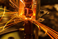 Automotive spot welding movement Stock Image